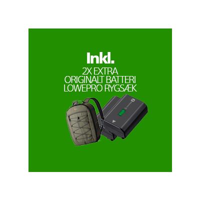 A1 Hus (inkl 2 Ekstra Original Batterier, Vouchers, Lowepro Rygsæk + Fordelsprogram)